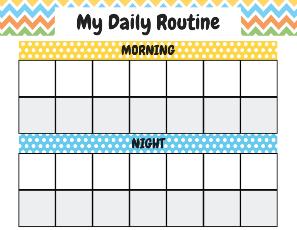 Chore Chart Example Blue and Yellow