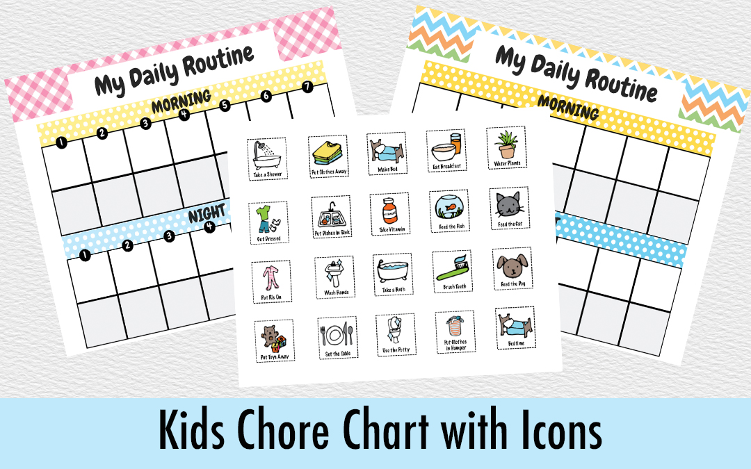 Chore Chart Template for Kids with Included Icons
